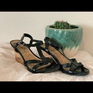"Black 3 1/2"" wedges, size 7"